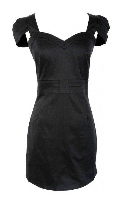 Capsleeve Sweetheart Black Pencil Dress