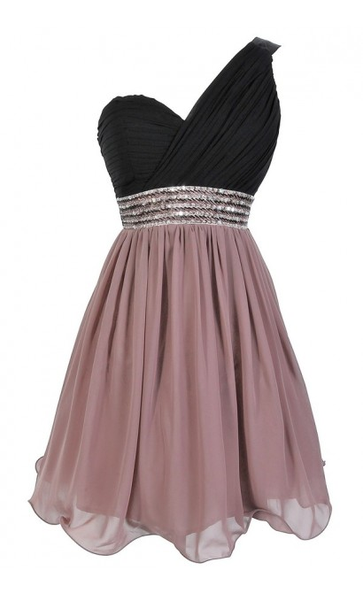 One Shoulder Embellished Chiffon Designer Dress in Black/Vintage Rose