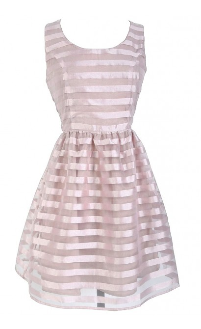 Rose Pink Shimmer Stripe Dress