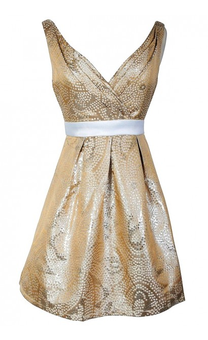 Cream and Gold Metallic Dot Print Designer Party Dress by Minuet
