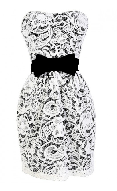 Bow Tie Affair Strapless Lace Dress in Ivory