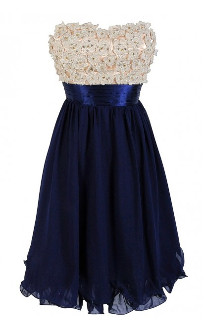 3-Dimensional Floral Applique Embellished Designer Dress in Cream/Navy