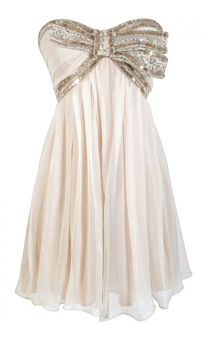 ee9909da Cream and Gold Sequin Bow Chiffon Designer Dress by Minuet Lily Boutique