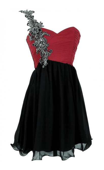Black and Berry Vine Embellished Designer Dress