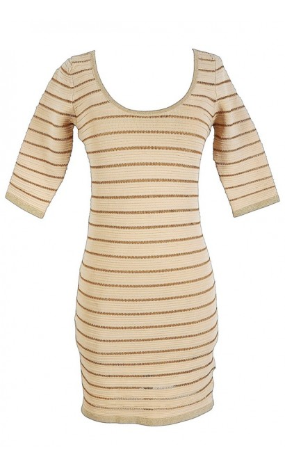 Cream and Gold Stripe Sparkle Bandage Dress