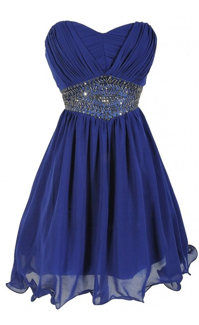 Starry Night Midnight Blue Embellished Chiffon Designer Dress
