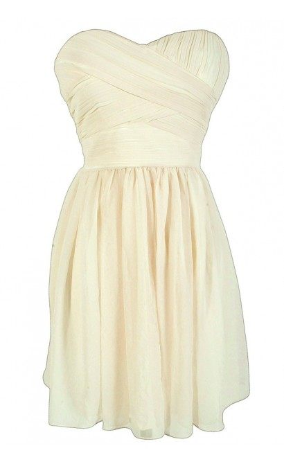 Sweetheart Pleated Strapless Designer Dress by Minuet in Ivory Sparkle