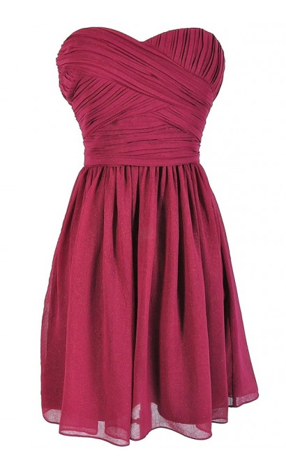 Sweetheart Pleated Strapless Designer Dress by Minuet in Berry