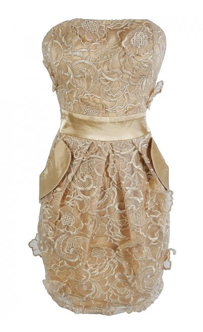 Dimensional Gold Floral Lace Dress