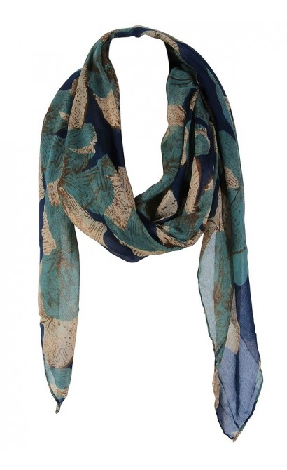 Blue and Green Floral Print Scarf