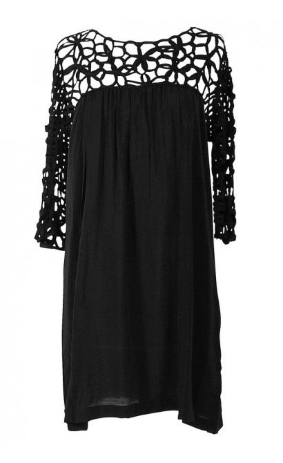 Macramé Maven Dress in Black