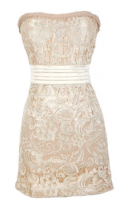 Lucy Tiered Waistband Crochet Lace Dress in Cream