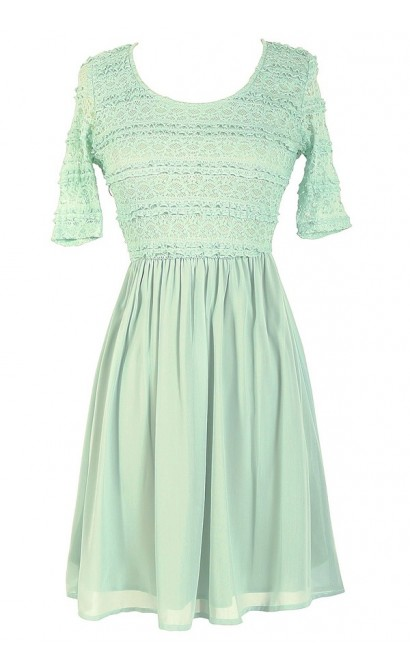 Chrissy Lace and Chiffon Dress in Sage