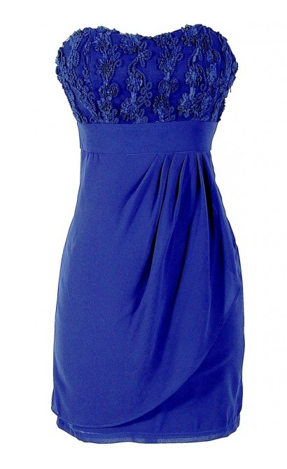 Strapless Sweetheart Dimensional Lace Dress by Minuet in Blue Purple