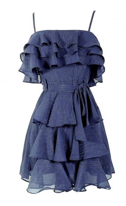 Tiered Midnight Blue Ruffle Dress With Waist Tie