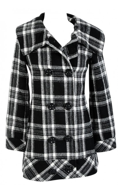 Mad About Plaid Black and Ivory Wool Blend Pea Coat