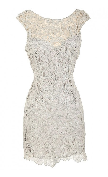 Alythea Silver Metallic Lace Overlay Fitted Dress