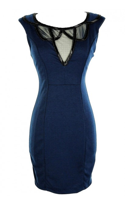 Navy Embellished Neckline Designer Pencil Dress