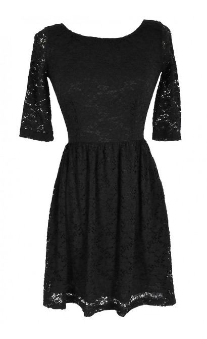 Black Three Quarter Sleeve Lace Dress