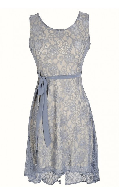 Periwinkle Lace High Low Dress with Fabric Sash