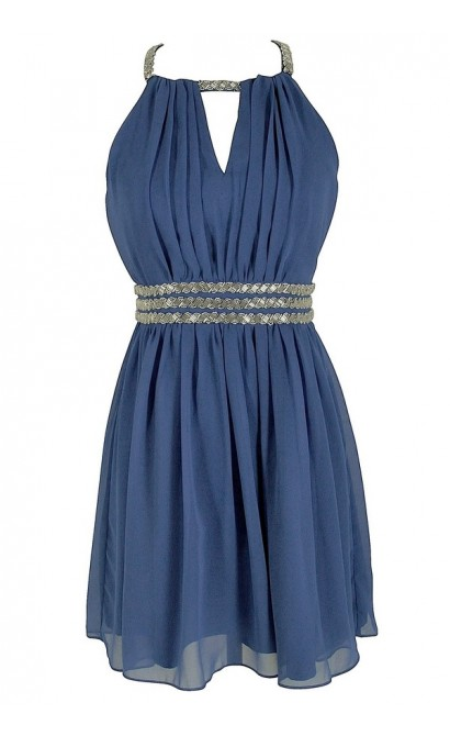 Silver Beaded Waistband Chiffon Designer Dress by Minuet in Blue