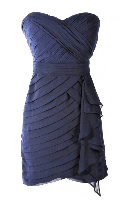 Tiered Strapless Chiffon Designer Dress by Minuet in Navy