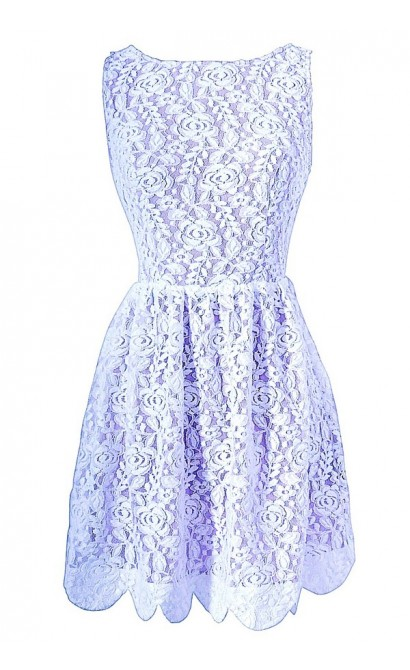 Ivory and Lilac Open Back Lace Designer Dress With Scalloped Hem