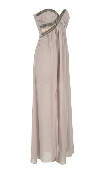 Silver Embellished Chiffon Designer Maxi Dress in Mink