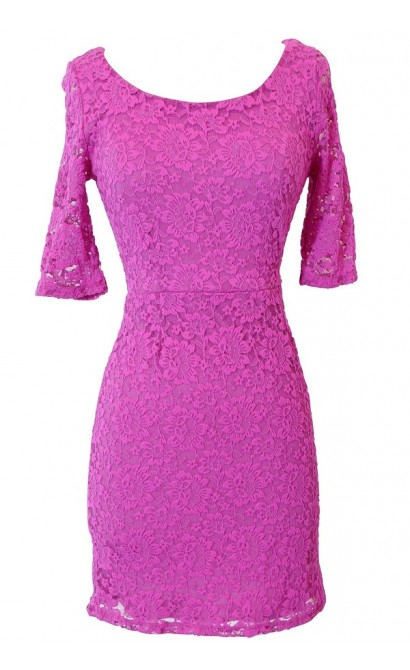 Elegant Fitted Floral Lace Dress in Bright Pink
