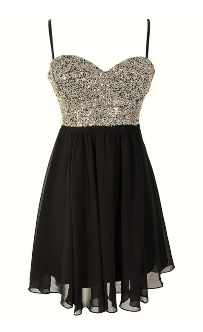Gold Sequin Bustier Chiffon Dress by Ark and Co