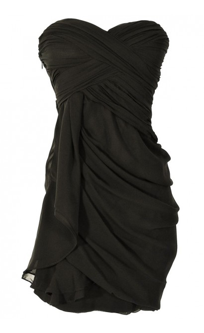 Dreaming of You Chiffon Drape Party Dress in Black