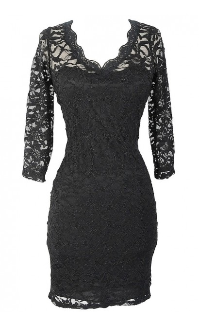 Open Back Fitted Lace Dress With Three Quarter Sleeves in Black