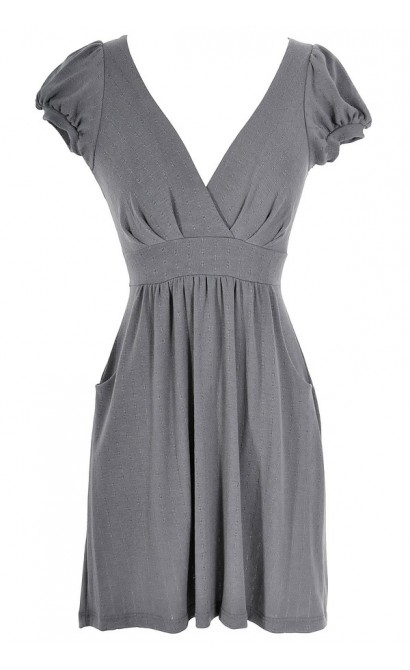 Capsleeve Pocket V Neck Dress in Grey