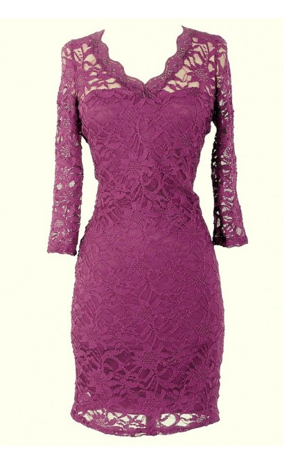 Open Back Fitted Lace Dress With Three Quarter Sleeves in Berry