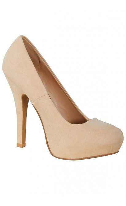 Nicole Suede Hidden Platform Pump in Nude