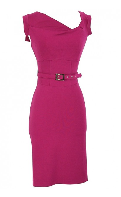 Perfect Belted Pencil Dress in Magenta