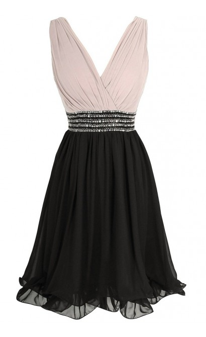 Black and Mink Pleated Crossover Embellished Chiffon Designer Dress