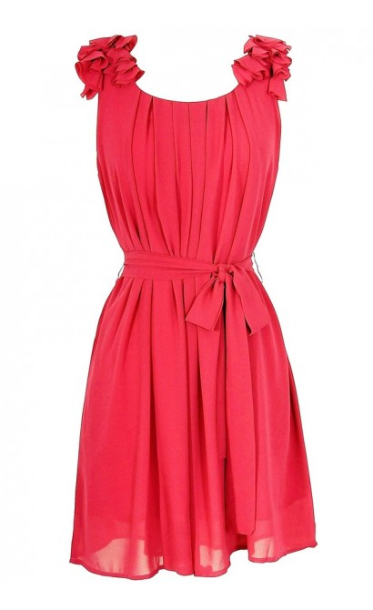 Chiffon Shoulder Petal Dress in Fuschia
