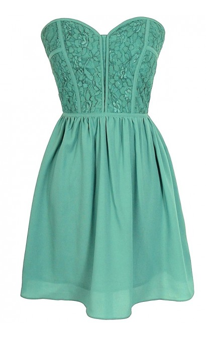 Sweetheart Strapless Dress in Sage
