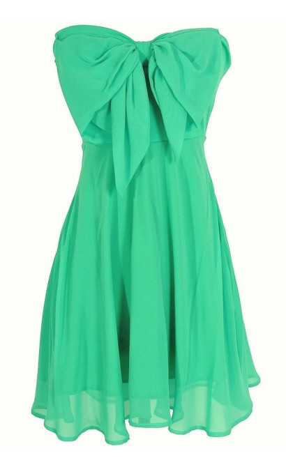 Oversized Bow Chiffon Dress in Jade