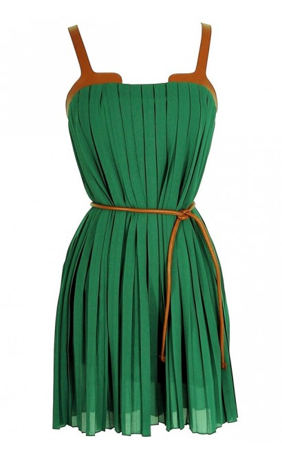 Leatherette Trim Pleated Chiffon Dress in Green