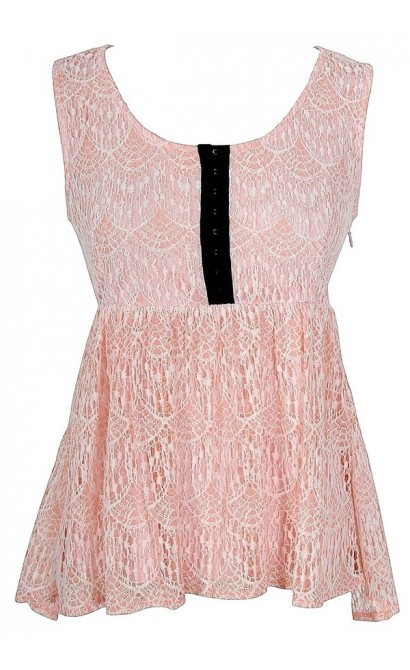 Lydia Lace Babydoll Top in Pink