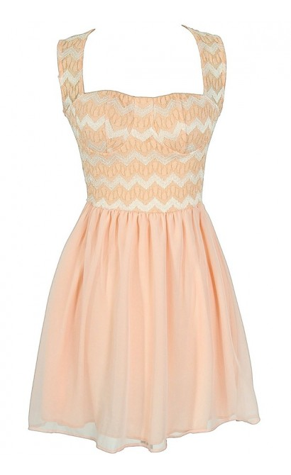 Chevron Pattern Bustier Dress in Peach
