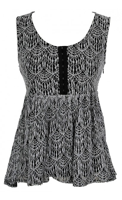 Lydia Lace Babydoll Top in Black