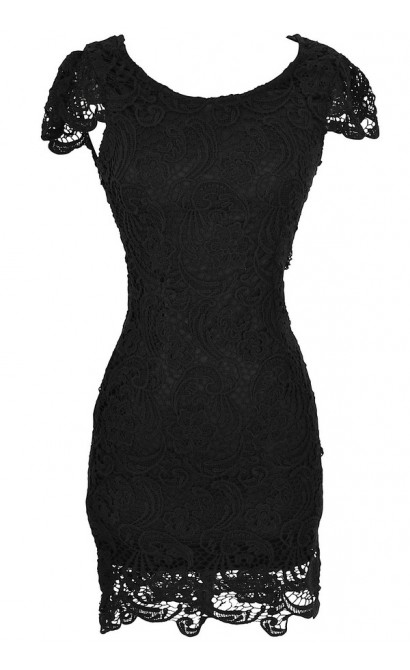 Nila Crochet Lace Capsleeve Pencil Dress in Black