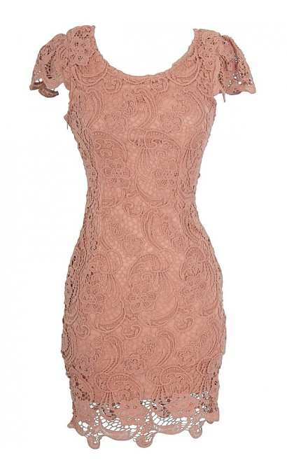 Nila Crochet Lace Capsleeve Pencil Dress in Antique Pink