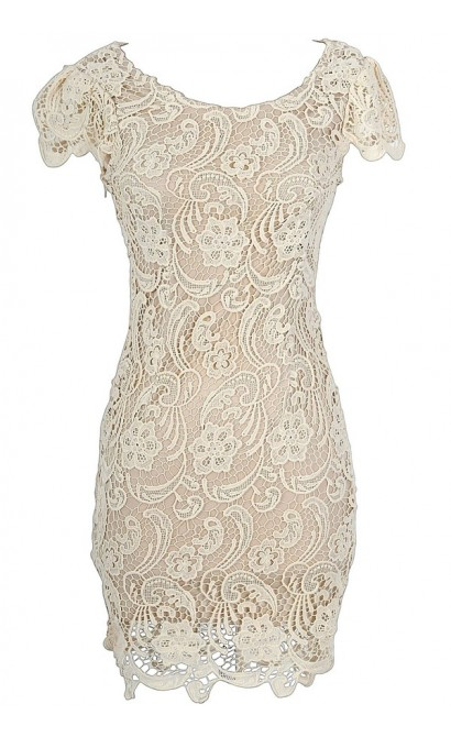 Nila Crochet Lace Capsleeve Pencil Dress in Beige