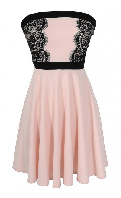 Alex A-Line Lace Trim Dress in Pink
