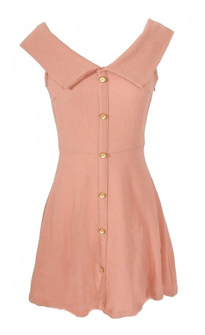 Boucle Sailor Collar Dress in Salmon