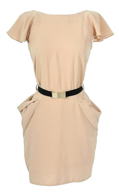 Taupe Belted Flutter Sleeve Dress with Dimensional Pockets